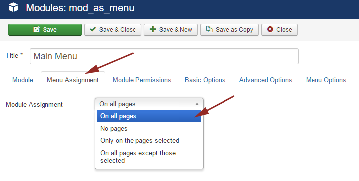 joomla module assignment
