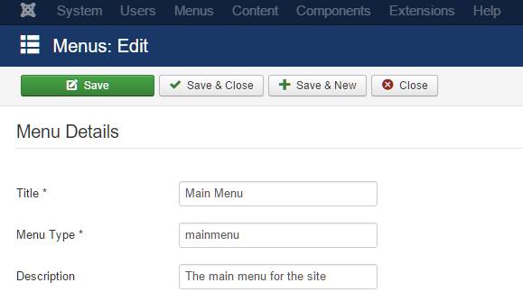joomla menu details