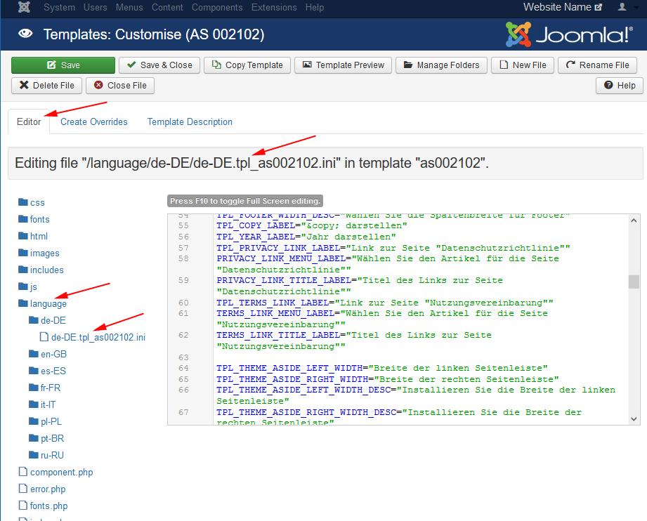 Joomla template editor as blog with some procedure you can edit language files maxwellsz